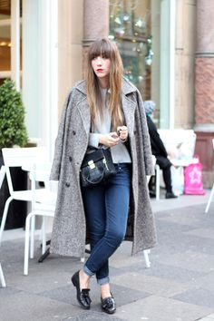Blogger The Love Cats Inc wears a herringbone coat with skinny jeans and a wool knit jumper #AW14 #streetstyle