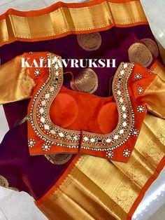 Mirror work blouse on kanchipuram saree