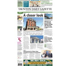 The front page of the Taunton Daily Gazette for Thursday, Sept. 26, 2013.