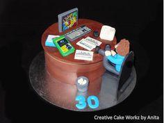 Computer Geek Office Desk Cake
