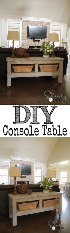 LOVE this $80 Pottery Barn inspired console table behind the couch! I want one! I love the way she distressed this with the bottom layer just being spray paint in certain areas!