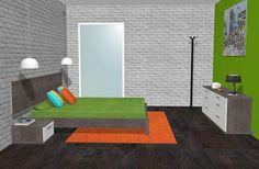 Con esta imagen podemos ver todos los muebles del dormitorio menos el armario ya que esto es lo que vemos cuando entramos por la puerta en el dormitorio, ya que podemos ver con más detalle del color del parquet que hemos colocado que siendo un poco oscuro queda bien con la pared de piedra pues esta es blanca,