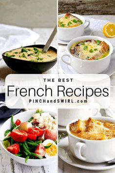 A mouthwatering collection of easy authentic French Recipes that you can make for dinner tonight! Some light some decadent some vegetarian all healthy traditional and delicious! French Salad Recipes, French Recipes Dinner, Easy French Recipes, Vegetarian French Recipes, French Cooking Recipes, Dinner Recipes, French Soup, French Dishes, Le Cordon Bleu