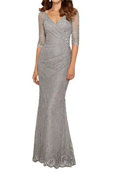 Vienna Bride Captivating Lace V-Neck Mother of the Bride Dress with Half Sleeves-10-Silver Vienna Bride http://www.amazon.com/dp/B0188XYVHI/ref=cm_sw_r_pi_dp_jB.Twb1NSBTKS