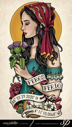 Scottish Gypsy Tattoo Thistle by Sam-Phillips-NZ.deviantart.com on @DeviantArt