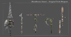 Bloodborne Fanart - Original Trick Weapon Concept , Creditian Istani on ArtStation at https://www.artstation.com/artwork/Zo48X