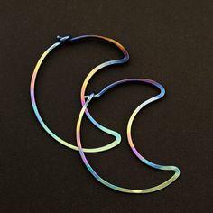 1 Pair Over the Moon Hoop Earrings - 18 gauge Niobium