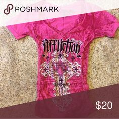 Affliction Top with laced up sides Worn only couple times in new condition! Affliction Tops Blouses