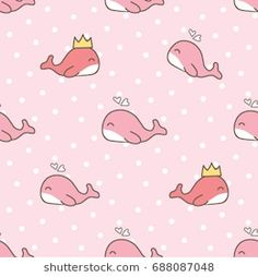 Seamless Pattern of Cute Cartoon Whale on Pink Background with Dots