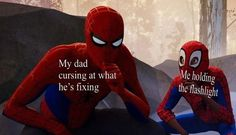 Pic of Miles Morales, who represents 'DC extended universe' staring at Spiderman, who represents 'Marvel cinematic universe' Funny School Memes, Funny Relatable Memes, Hilarious Memes, Funny Humour, Ver Memes, Dankest Memes, Book Memes, Rainha Do Rock, All Meme