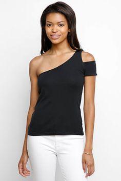 Splendid One Shoulder Knit Top in BLACK - front view