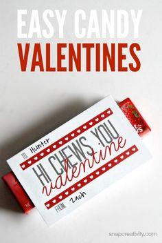 Easy Candy Valentine | Free Printable via @Snapconf