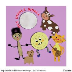 Hey Diddle Diddle Cute Nursery Rhyme Picture Poster