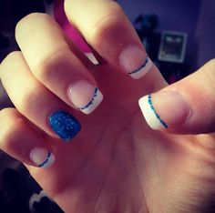 Blue accent nail, French tip with blue glitter lines
