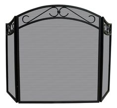 Uniflame® 3-Panel Black Wrought Iron Fireplace Fire Screen with Scrolled Arched Top