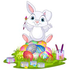 easter graphics | CLIPART EASTER BUNNY PAINTING | Royalty free vector design
