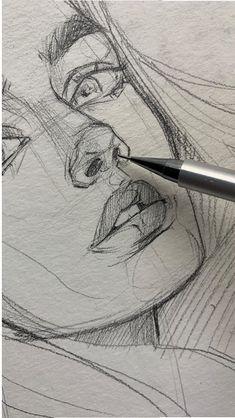 42 ideas drawing art ideas sketches creative sketchbooks for 2019 - Art sketchbook - Art Sketches Pencil Art Drawings, Art Drawings Sketches, Cool Drawings, Sketch Art, Sketch Ideas, Sketch Girl Face, Drawings Of People, Hair Drawings, Sketches Of People