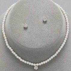 Childrens Girls Jewelry 3pc Flower Pearl Set « Holiday Adds