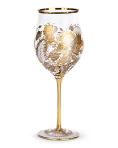 JAY STRONGWATER Swarovski Crystal Floral-Vine Wine Glasses - Gold Set Of 2 $395 - FREE SHIPPING OR PICK UP