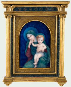 "Madonna and Child Limoges Porcelain Plaque in Gilt Tabernacle Frame -14.5""H x 11.5""W"