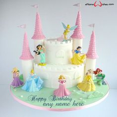 write name on pictures with eNameWishes by stylizing their names and captions by generating text on Disney Magical Princess Castle Cake with Name with ease