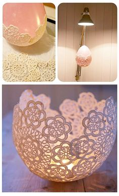 How to make Doily luminaries! Crafts Round Up of 15 fabulous crafts to make with vintage doilies  http://www.hearthandmade.co.uk/crafts-with-lace-doilies/