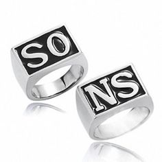 Stainless Steel The Movie Biker Rings Sons SO NS  Silver plated Biker Motor ring Women and Men Punk Rings 2 Pieces OJZ010 #Affiliate