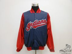 Mens Majestic Cleveland Indians Button Up SEWN Dugout Jacket sz L Large MLB #Majestic #ClevelandIndians #tcpkickz