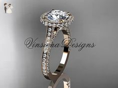 """Unique 14kt rose gold diamond wedding ring, engagement ring, """"Forever One"""" Moissanite VD10074 - Wedding and engagement rings (*Amazon Partner-Link)"""
