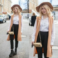 Get this look: http://lb.nu/look/8138881  More looks by Vladyslava Kozachyshche: http://lb.nu/vladaae  Items in this look:  Shein Vest, Beauty Line Hat, Pull & Bear Blouse, Pull & Bear Pants, Sinsay Clutch, Topshop Boots, Stradivarius Earrings   #chic #elegant #street