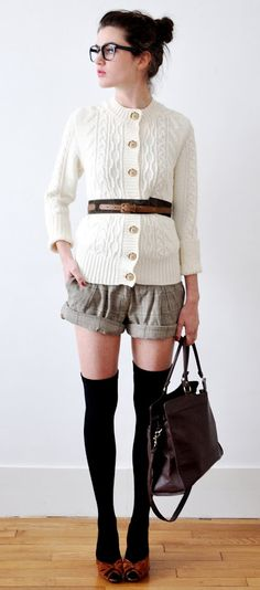cute way to wear shorts in the fall