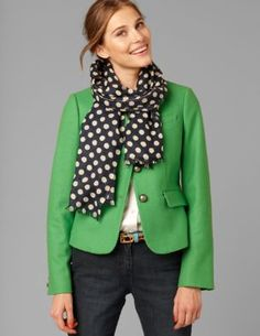 polka dots, green and dark denim...