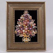 Vintage Rhinestone Jewelry CHRISTMAS TREE Pin Framed ART PINK PURPLE Bead Pearls