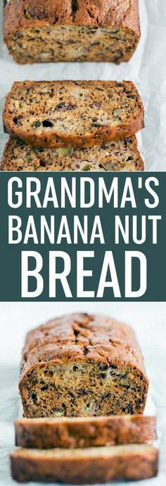 Hypoallergenic Pet Dog Food Items Diet Program Grandma's Banana Nut Bread - My Grandma's Classic Banana Bread Recipe, Loaded With Mashed Bananas And Chopped Walnuts Super Moist And So Easy To Make. A Family Favorite Via Browneyedbaker Easy Bread Recipes, Banana Bread Recipes, Cooking Recipes, Cooking Cake, Nut Recipes, Dessert Bread, Dessert Recipes, Desserts, Recipes