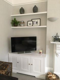 Alcove Storage Living Room, Alcove Shelving, Living Room Shelves, Living Room With Fireplace, New Living Room, Living Room Decor, Alcove Tv Unit, Alcove Decor, Wall Cabinets Living Room