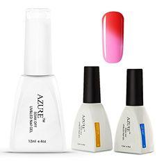 Makeup Artist Kits : Azure 3 Pcs/Lot Soak Off UV LED Chameleon Temperature Change Color Nail Gel Polish   Base   Top Set T07 >>> More details @ http://www.amazon.com/gp/product/B01EFLDGD2/?tag=makeuptips3-20&pfg=150816032410