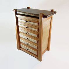 Handmade Jewelry Box / Chest - Cherry, Walnut And Curly Maple - 6 Drawers
