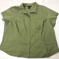 f7818c06c5312 Women s Plus Size 26 28 Venezia Solid Green Short Sleeve Button up Shirt