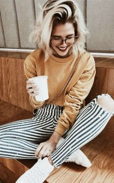 mustard sweatshirt + stripe pants