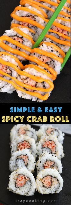 Spicy Crab Sushi Roll Recipe, Cooked Sushi Recipes, Sushi Roll Recipes, Spicy Recipes, Cooked Sushi Rolls, Seafood Recipes, Cooking Recipes, How To Roll Sushi, Best Sushi Rolls