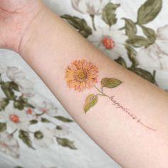Leaf Tattoos, Body Art Tattoos, Small Tattoos, Sunflower Tattoo Small, Watercolor Tattoo, Tattoo Ideas, Inspiration, Petite Tattoos, Biblical Inspiration