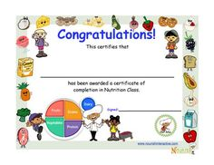 Fun My Plate nutrition award for kids.  Printable nutrition certificate to reward children for completion of nutrition class.