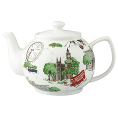 London Teapot    Cath Kidston    It's tea time! Make your cuppa taste even better as you serve it up from this London landmark print teapot. A regal and refined choice for your traditional British afternoon tea break.