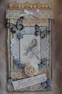 bird, butterfly, flowers, lace, ribbons ... such a sweet tag!: