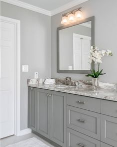 Both wall color and cabinetry color are Sherwin Williams Light French Gray #DiyCraftsForRoomDecor Paint Colors For Home, Wall Paint Colors, Playroom Paint Colors, Basement Wall Colors, Office Wall Colors, Hallway Paint, Color Walls, Accent Wall Colors, Farmhouse Paint Colors