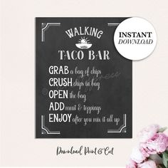 Walking Taco Bar Sign, Printable Taco Bar Sign, Printable Graduation Decorations, Graduation Decor, Chalkboard Graduation Party Sign This Walking Taco Bar Sign will make your Grads party extra special. WHAT YOU GET - Walking Taco Bar Sign Graduation Party Planning, Graduation Decorations, Graduation Ideas, 9th Birthday Parties, Grad Parties, Taco Bar Party, Wine Favors, Walking Tacos, Thank You Cards From Kids