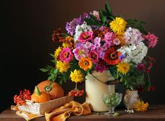 Still life with a bouquet, pumpkins and berries October Bouquet, Still Life Photos, Royalty Free Images, Jigsaw Puzzles, Berries, Floral Wreath, Pumpkin, Wreaths, Table Decorations