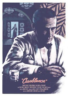 Casablanca by Kris Miklos Old Movie Posters, Classic Movie Posters, Cinema Posters, Classic Movies, Humphrey Bogart, Casablanca Movie, Casablanca 1942, Old Movies, Vintage Movies