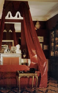 Designer David Hicks--His iconic bedroom at The Albany in  London where he mixed shades of red.
