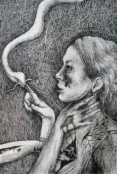Marzena Ablewska- Lech. Moth's Desire. Mirror 2. Pen and Ink.